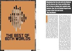 """Remake of """"Best of Both Worlds"""" double page spread - MOJO Editorial Layout, Editorial Design, Magazine Layout Design, Magazine Layouts, The Last Shadow Puppets, Magazine Spreads, Newspaper Design, Brochure Layout, Publication Design"""