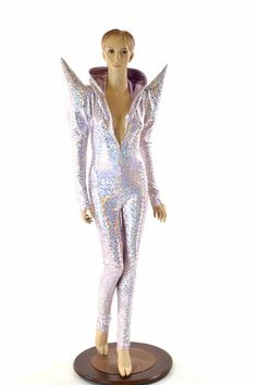 Pink Mermaid Scale Long Sleeve MEGA Sharp Shoulder Zipper Front Catsuit with Lilac Lined Hood Festival Jumpsuit Burning Man 152296