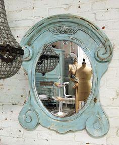 Painted Cottage Chic Shabby Aqua Mirror MR266