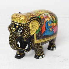 Shudehill Kerala Diamond Mirror Elephant Mother And Baby Ornament Gift Figurine