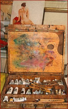 More / My Studio by The Sensual Starfish thesensualstarfish: Pochade Box, Artist Loft, Art Easel, Artist Supplies, Artists And Models, Painting Studio, Painted Boxes, Selling Art, Famous Artists