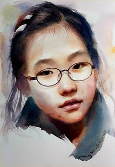 Watercolor painting of children& figures, Munk art school - Aquarell - Watercolor Face, Watercolor Trees, Watercolor Artwork, Watercolor Portraits, Watercolor Landscape, Watercolor Artists, Korean Painting, Hyper Realistic Paintings, Guache