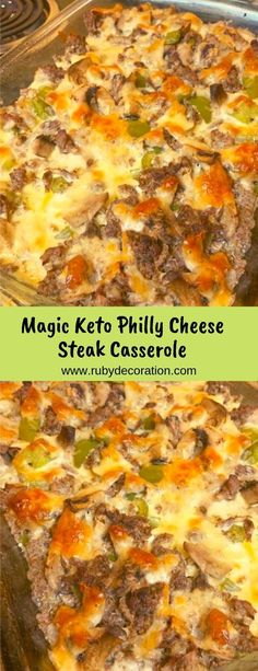 Magic Keto Philly Cheese Steak Casserole - Düşük karbonhidrat yemekleri - Las recetas más prácticas y fáciles Steak Dinner Recipes, Beef Recipes, Cooking Recipes, Healthy Recipes, Healthy Hamburger Recipes, Low Carb Dinner Recipes, Vegetarian Recipes, Keto Foods, Ketogenic Recipes