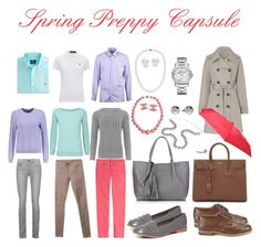 Spring Preppy Capsule by tereza-rokosova on Polyvore featuring Carven, Jaeger, Polo Ralph Lauren, WearAll, Proenza Schouler, 7 For All Mankind, Helmut Lang, Knutsford, Dorothy Perkins and Yves Saint Laurent