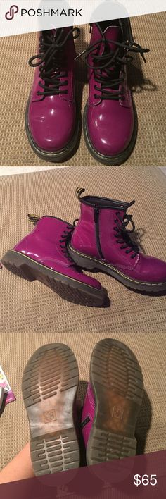 Dr. Martens boot EUC. Delaney lace/zip boot beautiful purple paten leather. Inside zip closure for easy in and out. Classic rear heel loop for easier entry. Sole is cemented to the upper for greater flexibility. Cushioned textile footbed Dr. Martens Shoes Boots