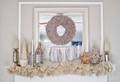 "Great Inspiration for ""after Christmas"" mantle.  Winter Mantle @ I Love You More Than Carrots"