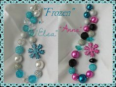 Frozen inspired necklace Elsa or Anna by RazzBerryBeads on Etsy, $15.00