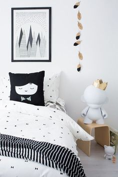 black and white kids room in Scandinavian style