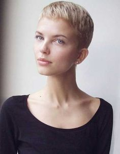 It takes perfect features to carry off a very short hairstyle and this lady certainly has what is needed.