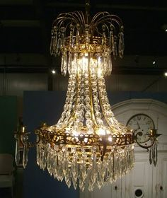 Empire Style Chrystal Chandelier - Sweden, Mid Century - My mother has this one - keeps the candles all the time Swedish Style, Swedish House, Chandelier Lamp, Chandeliers, Empire Design, Scandinavian Art, Empire Style, Country Style, Antique Furniture