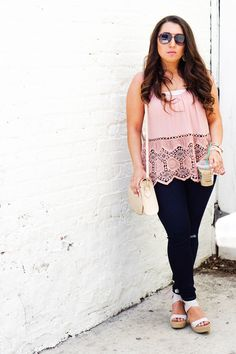 In love with this look! This blush pink color is going to be a summer staple!  Lauren Em Blog