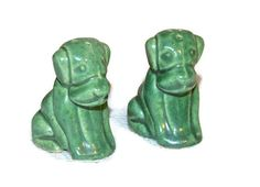 Green Dog Salt & Pepper Shakers Dog Shaker Set  by WVpickin