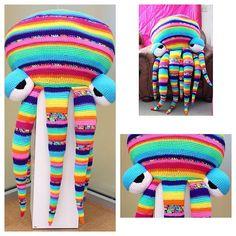 oliviartcreations crochet octopus rainbow stripe huge