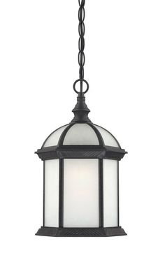 Nuvo Lighting 60/4999 Boxwood ES Single-Light Hanging Lantern with Frosted Glass Textured Black Outdoor Lighting Pendants