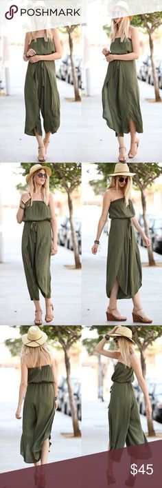 MICAH off shoulder Flutter Jumpsuit - OLIVE Super gorgeous & comfy off shoulder solid woven jumper.   AVAILABLE IN OLIVE AND NAVY  NO TRADE, PRICE FIRM Bellanblue Pants Jumpsuits & Rompers