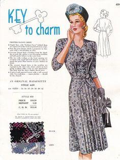 "Maisonette Frocks salesman's sample - the ""key to charm"". Motif Vintage, Vintage Dress Patterns, Vintage Mode, Vintage Hats, 1940s Fashion, Fashion Models, Vintage Fashion, Club Fashion, French Fashion"