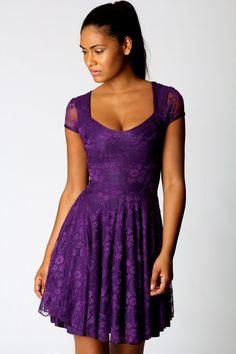 Caroline Cap Sleeve Lace Skater Dress