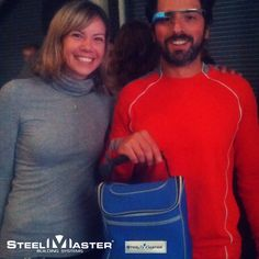 Throwback Thursday: Billionaire Google Co-founder Surgey Brin has found the perfect way to carry his lunch--with his super stylish SteelMaster lunch bag! he is shown here with Google Account executive Jo Broussard in 2012. #throwback #google #surgeybrin #steelmaster
