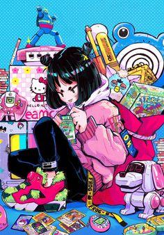 Cute Art Styles, Cartoon Art Styles, Aesthetic Art, Aesthetic Anime, Pop Art, Pastel Goth Art, Instapump Fury, Art Anime, Anime Artwork