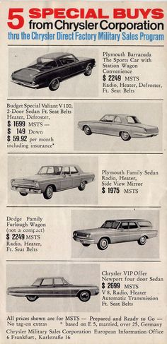 1965 Chrysler Cars - can I buy that 'Cuda now???