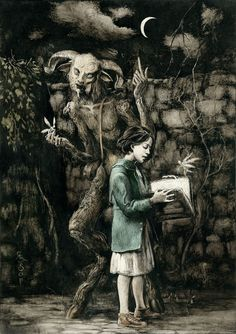 """ Pan's Labyrinth I "" by Santiago Caruso / Ink and scratching over paper /  24,5 x 34,5 cm / 2013   Book cover of an essay about Guillermo del Toro's film by Mar Diestro-Dópido, that will be published soon by BFI Film Classics & Palgrave Macmillan."