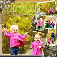 Autumn Days Digital Scrapbooking Layout -- I like pages that focus on the photos and you can get a lot of pictures on a single page.  This one is especially pretty.