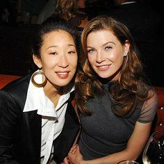 Photo of Sandra Oh & her friend actress  Ellen Pompeo - Cast of Grey
