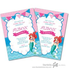 Little Mermaid Invitation Little Mermaid invite by GardellaGlobal
