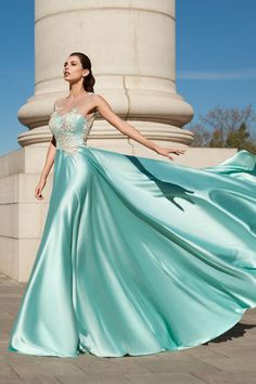 Magbridal Attractive Acetate Satin Jewel Neckline A-line Prom Dress With Lace Appliques & Flowers With Beadings Fancy Wedding Dresses, A Line Prom Dresses, Ball Dresses, Ball Gowns, Dress Prom, Satin Gown, Satin Dresses, Lace Dress, Silk Evening Gown