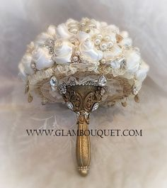 """GATSBY THEMED BROOCH BOUQUET - $499 FULL PRICE IS $499, DEPOSIT TO START $299, BALANCE DUE @ COMPLETION Big Custom 28"""" in circumference Bouquet (9"""") . AllCus"""