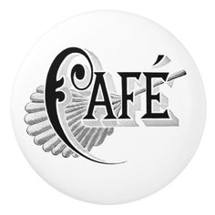 Retro Vintage Art Deco Cafe Sign Typography Ceramic Knob