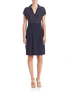 Akris punto - Silk Polka Dot Cap-Sleeve Dress