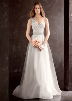 $349 White by Vera Wang One Shoulder Wedding Dress VW351185