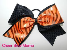 Black and Orange Zebra Cheer Bow by Cheer Bow Mama