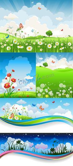 Summer meadow landscape vector graphics download