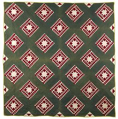 """Christmas quilt inspiration: Pennsylvania patchwork quilt, late 19th c., in a star variant pattern, 80"""" x 80""""."""