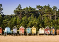 Look at these beautiful beach huts in Wells-next-the-Sea, Norfolk. Norfolk Beach, Norfolk Coast, Norfolk England, England Uk, Norfolk Country Cottages, Wells Next The Sea, British Seaside, British Isles, Norfolk Broads