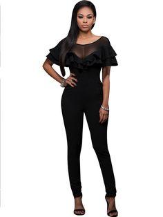 Black Double Ruffles Back Zipper Bodycon Playsuit Fashion Women Mesh Patchwork See Through Jumpsuit Short Sleeve Clubwear Romper Bodycon Jumpsuit, Short Jumpsuit, Jumpsuit Dress, Playsuit, Double Ruffle, Black Suits, Black Mesh, Clubwear, Solid Black