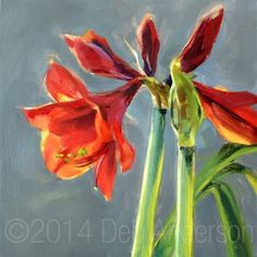 "Daily Paintworks - ""Oil Painting: Amaryllis"" - Original Fine Art for Sale - © Deb Anderson"