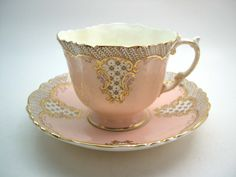 Vintage Aynsley Peach Tea Cup And Saucer, Aynsley Peach and Gold Teacup, Textured tea cup set.