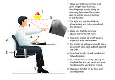 Ergonomics: How to sit at your office computer desk. Be proactive about back pain, eye strain, and carpel-tunnel syndrome. Carpel Tunnel Syndrome, Office Computer Desk, Eye Strain, Back Pain, Biceps, Helpful Hints, Health And Wellness, Exercise, Computers