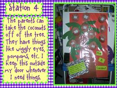 Open House Idea.....Have a coconut tree and each coconut is a needed item that the parents can take off the tree & send back with their child