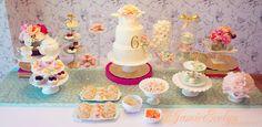 Birthday Tea Party ~ Girls, dessert table, peach, mint, gold