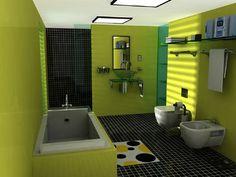 diseño de baños de color verde pistacho