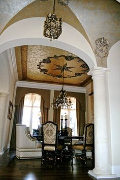 French Chateau in Club of Longview traditional dining room