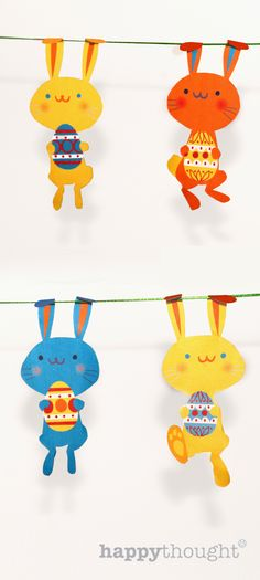 Free printable bunny garland (alternative use for the bunnies: glue them on popsicle sticks and hide them around the house to exchange for chocolate eggs -- the dog won't get the treats meant for the kid)
