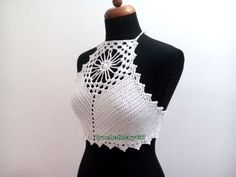 Crochet Top Halter Cotton White Etsy Crochet Halter Tops, Crochet Crop Top, Boho Tops, Lace Tops, White Crochet Top, Crochet Triangle, Summer Crop Tops, Festival Tops, Bustier Top