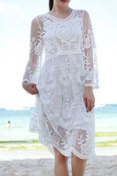 Chic V Neck Long Sleeves See-Through Flower Pattern Women's Dress