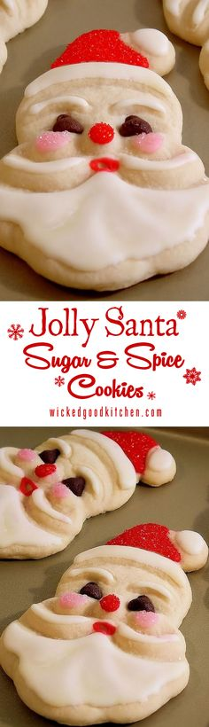 Santa Claus Cookies just like Grandma used to bake! The recipe is ideal for young bakers as the dough handles easily. Kids and adults LOVE these! | classic #Christmas cookie