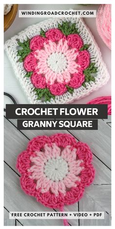 This free crochet pattern for a crochet flower granny square looks wonderful worked as a single color flower or a two toned flower. Motifs Granny Square, Granny Square Pattern Free, Flower Granny Square, Crochet Motifs, Crochet Blocks, Granny Square Crochet Pattern, Knit Crochet, Crochet Patterns, Crochet Cushions